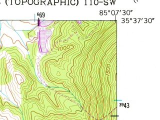 Reduced fragment of topographic map en--usgs--024k--035147--(1956)--N035-37-30_W085-15-00--N035-30-00_W085-07-30; towns and cities Pikeville