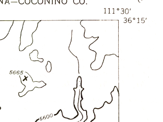 Reduced fragment of topographic map en--usgs--024k--035157--(1955)--N036-15-00_W111-37-30--N036-07-30_W111-30-00