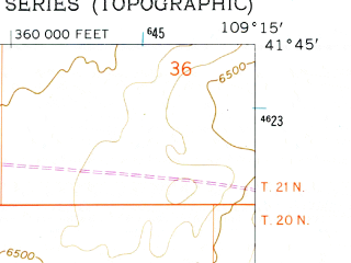 Reduced fragment of topographic map en--usgs--024k--035165--(1961)--N041-45-00_W109-22-30--N041-37-30_W109-15-00; towns and cities North Rock Springs