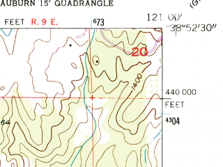 Reduced fragment of topographic map en--usgs--024k--035172--(1954)--N038-52-30_W121-07-30--N038-45-00_W121-00-00