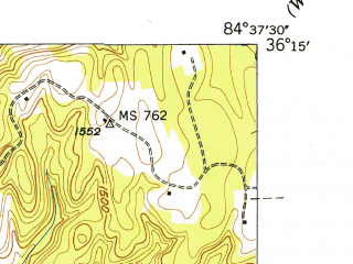 Reduced fragment of topographic map en--usgs--024k--035182--(1946)--N036-15-00_W084-45-00--N036-07-30_W084-37-30; towns and cities Sunbright