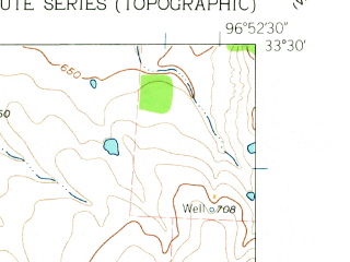 Reduced fragment of topographic map en--usgs--024k--035191--(1961)--N033-30-00_W097-00-00--N033-22-30_W096-52-30; towns and cities Pilot Point, Tioga