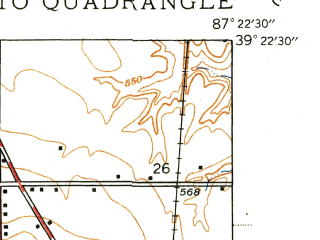 Reduced fragment of topographic map en--usgs--024k--035198--(1940)--N039-22-30_W087-30-00--N039-15-00_W087-22-30; towns and cities Farmersburg
