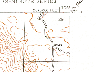 Reduced fragment of topographic map en--usgs--024k--035216--(1945)--N039-30-00_W105-22-30--N039-22-30_W105-15-00