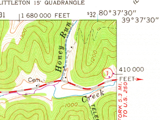 Reduced fragment of topographic map en--usgs--024k--035248--(1960)--N039-37-30_W080-45-00--N039-30-00_W080-37-30; towns and cities Pine Grove