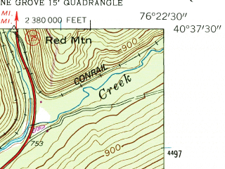 Reduced fragment of topographic map en--usgs--024k--035251--(1954)--N040-37-30_W076-30-00--N040-30-00_W076-22-30; towns and cities Pine Grove