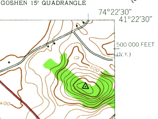 Reduced fragment of topographic map en--usgs--024k--035262--(1942)--N041-22-30_W074-30-00--N041-15-00_W074-22-30