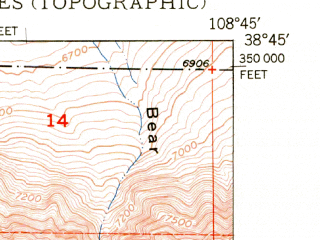Reduced fragment of topographic map en--usgs--024k--035279--(1950)--N038-45-00_W108-52-30--N038-37-30_W108-45-00