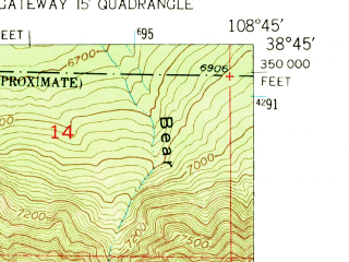 Reduced fragment of topographic map en--usgs--024k--035279--(1960)--N038-45-00_W108-52-30--N038-37-30_W108-45-00