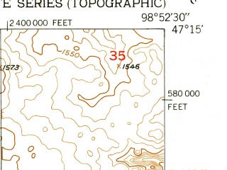 Reduced fragment of topographic map en--usgs--024k--035354--(1951)--N047-15-00_W099-00-00--N047-07-30_W098-52-30; towns and cities Pingree