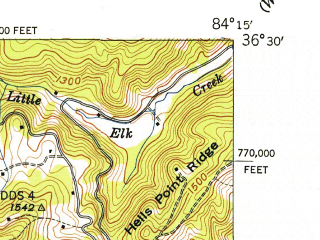 Reduced fragment of topographic map en--usgs--024k--035411--(1946)--N036-30-00_W084-22-30--N036-22-30_W084-15-00