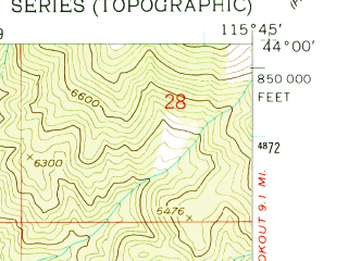 Reduced fragment of topographic map en--usgs--024k--035416--(1957)--N044-00-00_W115-52-30--N043-52-30_W115-45-00