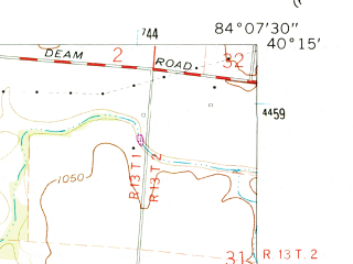 Reduced fragment of topographic map en--usgs--024k--035432--(1961)--N040-15-00_W084-15-00--N040-07-30_W084-07-30; towns and cities Lockington