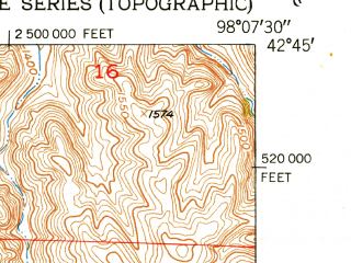 Reduced fragment of topographic map en--usgs--024k--035444--(1950)--N042-45-00_W098-15-00--N042-37-30_W098-07-30