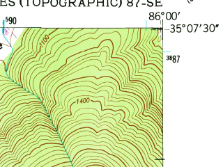 Reduced fragment of topographic map en--usgs--024k--035455--(1948)--N035-07-30_W086-07-30--N035-00-00_W086-00-00