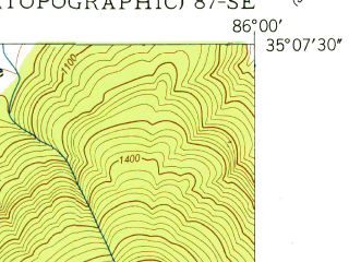 Reduced fragment of topographic map en--usgs--024k--035455--(1951)--N035-07-30_W086-07-30--N035-00-00_W086-00-00