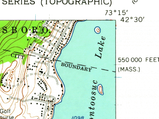 Reduced fragment of topographic map en--usgs--024k--035483--(1959)--N042-30-00_W073-22-30--N042-22-30_W073-15-00 in area of Onota Lake; towns and cities Pittsfield