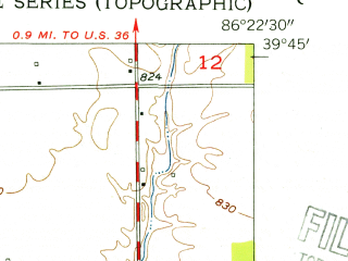 Reduced fragment of topographic map en--usgs--024k--035523--(1953)--N039-45-00_W086-30-00--N039-37-30_W086-22-30; towns and cities Plainfield