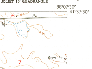 Reduced fragment of topographic map en--usgs--024k--035529--(1954)--N041-37-30_W088-15-00--N041-30-00_W088-07-30; towns and cities Shorewood, Crystal Lawns, Plainfield