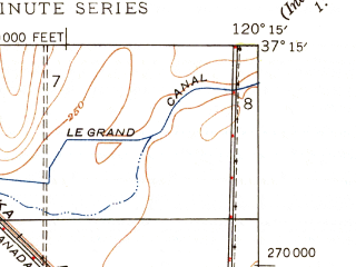 Reduced fragment of topographic map en--usgs--024k--035544--(1947)--N037-15-00_W120-22-30--N037-07-30_W120-15-00; towns and cities Le Grand