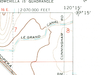 Reduced fragment of topographic map en--usgs--024k--035544--(1960)--N037-15-00_W120-22-30--N037-07-30_W120-15-00; towns and cities Le Grand