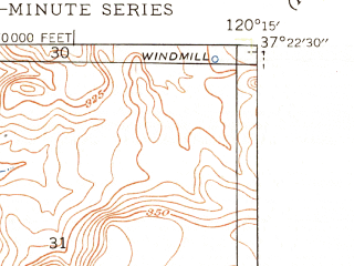 Reduced fragment of topographic map en--usgs--024k--035562--(1948)--N037-22-30_W120-22-30--N037-15-00_W120-15-00; towns and cities Planada