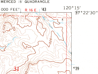Reduced fragment of topographic map en--usgs--024k--035562--(1961)--N037-22-30_W120-22-30--N037-15-00_W120-15-00; towns and cities Planada