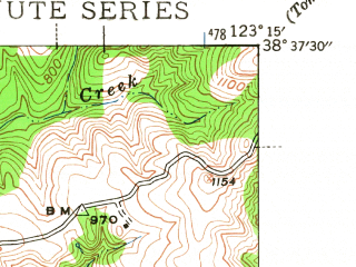 Reduced fragment of topographic map en--usgs--024k--035571--(1943)--N038-37-30_W123-22-30--N038-30-00_W123-15-00
