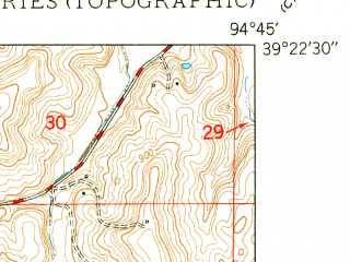 Reduced fragment of topographic map en--usgs--024k--035592--(1950)--N039-22-30_W094-52-30--N039-15-00_W094-45-00; towns and cities Farley, Platte City