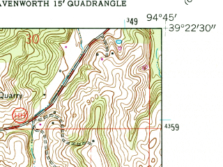Reduced fragment of topographic map en--usgs--024k--035592--(1961)--N039-22-30_W094-52-30--N039-15-00_W094-45-00; towns and cities Farley, Platte City