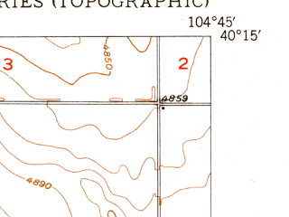 Reduced fragment of topographic map en--usgs--024k--035597--(1950)--N040-15-00_W104-52-30--N040-07-30_W104-45-00; towns and cities Platteville