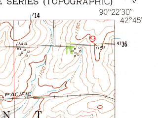 Reduced fragment of topographic map en--usgs--024k--035598--(1952)--N042-45-00_W090-30-00--N042-37-30_W090-22-30; towns and cities Platteville
