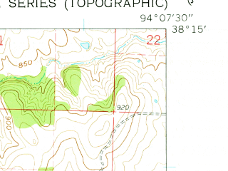 Reduced fragment of topographic map en--usgs--024k--035614--(1961)--N038-15-00_W094-15-00--N038-07-30_W094-07-30