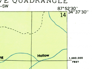 Reduced fragment of topographic map en--usgs--024k--035621--(1936)--N034-37-30_W088-00-00--N034-30-00_W087-52-30