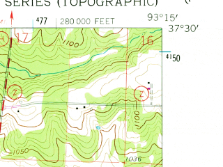 Reduced fragment of topographic map en--usgs--024k--035635--(1961)--N037-30-00_W093-22-30--N037-22-30_W093-15-00; towns and cities Pleasant Hope