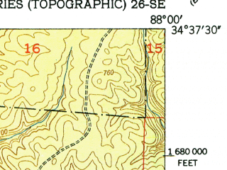 Reduced fragment of topographic map en--usgs--024k--035653--(1951)--N034-37-30_W088-07-30--N034-30-00_W088-00-00