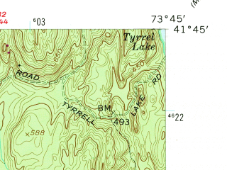 Reduced fragment of topographic map en--usgs--024k--035659--(1957)--N041-45-00_W073-52-30--N041-37-30_W073-45-00; towns and cities Pleasant Valley, Red Oaks Mill