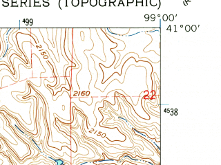 Reduced fragment of topographic map en--usgs--024k--035669--(1962)--N041-00-00_W099-07-30--N040-52-30_W099-00-00; towns and cities Pleasanton