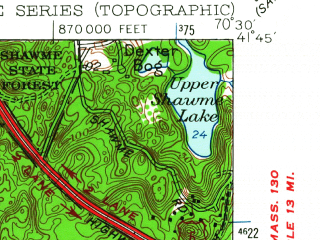 Reduced fragment of topographic map en--usgs--024k--035740--(1953)--N041-45-00_W070-37-30--N041-37-30_W070-30-00; towns and cities Bourne, Forestdale, Monument Beach