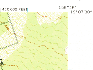 Reduced fragment of topographic map en--usgs--024k--035758--(1962)--N019-07-30_W155-52-30--N019-00-00_W155-45-00; towns and cities Hawaiian Ocean View