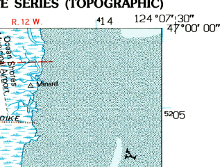 Reduced fragment of topographic map en--usgs--024k--035768--(1955)--N047-00-00_W124-15-00--N046-52-30_W124-07-30; towns and cities Ocean Shores