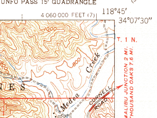Reduced fragment of topographic map en--usgs--024k--035778--(1951)--N034-07-30_W118-52-30--N034-00-00_W118-45-00; towns and cities Point Dume