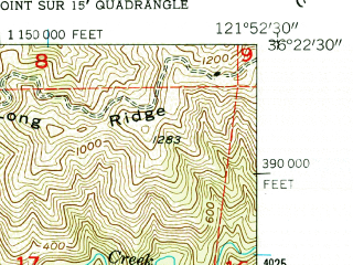 Reduced fragment of topographic map en--usgs--024k--035814--(1956)--N036-22-30_W122-00-00--N036-15-00_W121-52-30