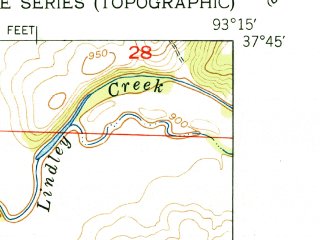 Reduced fragment of topographic map en--usgs--024k--035872--(1951)--N037-45-00_W093-22-30--N037-37-30_W093-15-00