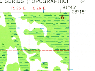 Reduced fragment of topographic map en--usgs--024k--035876--(1944)--N028-15-00_W081-52-30--N028-07-30_W081-45-00; towns and cities Polk City