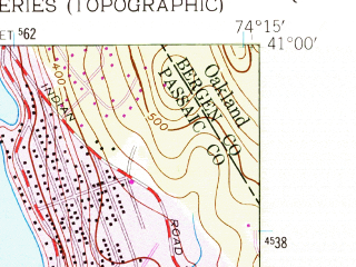 Reduced fragment of topographic map en--usgs--024k--035922--(1955)--N041-00-00_W074-22-30--N040-52-30_W074-15-00; towns and cities Lincoln Park, Pequannock Township, Butler, Fairfield, Riverdale