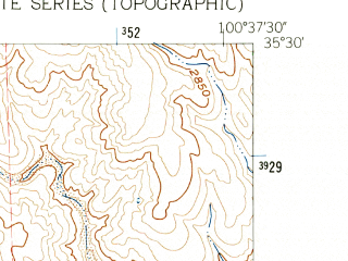 Reduced fragment of topographic map en--usgs--024k--035941--(1962)--N035-30-00_W100-45-00--N035-22-30_W100-37-30