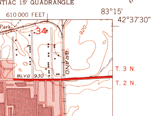 Reduced fragment of topographic map en--usgs--024k--035960--(1952)--N042-37-30_W083-22-30--N042-30-00_W083-15-00 in area of Sylvan Lake; towns and cities Bloomfield Township, Sylvan Lake, Bingham Farms, Franklin