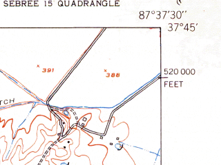 Reduced fragment of topographic map en--usgs--024k--035972--(1951)--N037-45-00_W087-45-00--N037-37-30_W087-37-30; towns and cities Corydon