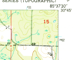 Reduced fragment of topographic map en--usgs--024k--035989--(1950)--N030-45-00_W085-45-00--N030-37-30_W085-37-30